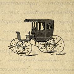 Antique Carriage Digital Image Download Printable Graphic Vintage Clip Art. High resolution digital illustration from vintage artwork. This printable digital graphic works well for iron on transfers, making prints, tea towels, papercrafts, pillows, tote bags, and more great uses. Great for etsy products. This graphic is high quality at 8½ x 11 inches large. Transparent background PNG version included.
