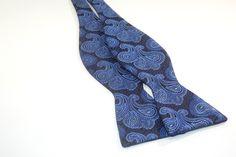 Blue-tiful Paisley - 100% Silk Bow Tie (Self Tie)