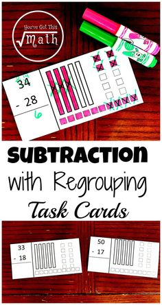 Practice subtraction with regrouping using these task cards that already have base ten blocks drawn on them. Math Activities For Kids, Math For Kids, Fun Math, Math Resources, Math Games, Math 2, Teaching Subtraction, Teaching Math, Subtraction Regrouping