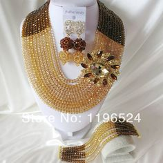 Luxury Crystal Necklaces Bracelet Earrings African Nigerian Wedding Beads Jewelry Set  A-1253