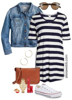 Plus Size Striped Dress Outfit Ideas - Navy and White Striped Casual Dress, Crossbody… - woman plus size fashion Office Outfits Women, Mode Outfits, Dress Outfits, Casual Dresses, Fashion Outfits, Tunic Dresses, Fashion Hacks, Beach Dresses, Fashion Boots
