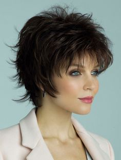 Winter Synthetic Wig by Rene of Paris Long Shag Hairstyles, Edgy Short Haircuts, Round Face Haircuts, Permed Hairstyles, Hairstyles For Round Faces, Hair Cuts For Over 50, Short Hair Cuts For Round Faces, Short Hair With Layers, Elsa Hair