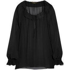 Saint Laurent Silk-chiffon blouse (1.785 BRL) ❤ liked on Polyvore featuring tops, blouses, saint laurent, black, keyhole blouse, sheer ruffle blouse, sheer blouse, keyhole top and see through blouse