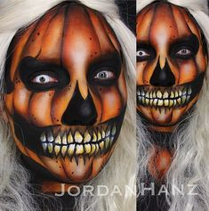 "13 Terrifyingly Cool Face-Paint Looks to Steal the Show on Halloween: We've covered the basics of Halloween makeup, from spooky nail art to eyes to this fresh Katy Perry's ""Dark Horse"" look. Cool Halloween Makeup, Halloween Inspo, Halloween Kostüm, Scariest Halloween Costumes Ever, Halloween Pumpkin Makeup, Halloween Face Paint Scary, Halloween Fashion, Vintage Halloween, Pumpkin Face Paint"