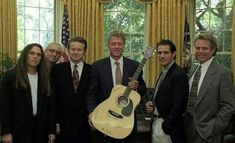 Eagles presented a signed guitar to President Bill Clinton Eagles Lyrics, Eagles Band, Rip Glenn, Glenn Frey, Great Bands, Cool Bands, Bernie Leadon, Randy Meisner, Love Me Better