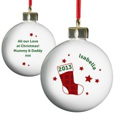 Personalised Red Stocking Bauble from Personalised Gifts Shop - ONLY Personalised Christmas Baubles, Personalised Gifts, Xmas Ornaments, Christmas Bulbs, Dream Garage, Competition, Easter, Group, Facebook