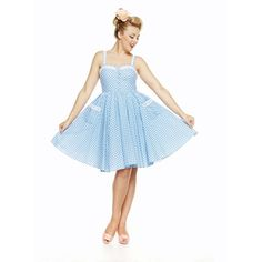 'Corinna' Pale Blue Gingham Swing Dress ($36) ❤ liked on Polyvore featuring dresses, blue, trapeze dress, flared skirt, summer dresses, swing dress and white circle skirt