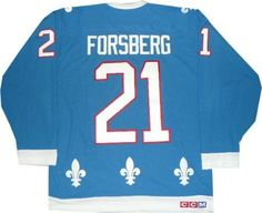 Quebec Nordiques Banners   Quebec Nordiques Jersey Peter Forsberg Vintage Blue Team Classics ...