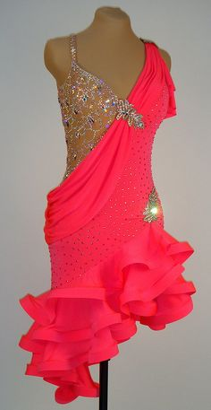 Coral lycra with ruffled skirt and crystal AB embellishments