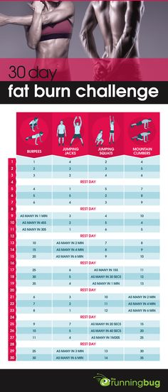 30 day fat burn challenge - burpees, jumping jacks, jumping squats and mountain climbers