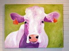 Large Cow Painting Original Acrylic on 30x40 Canvas by Logan Berard