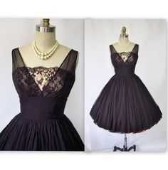 50 s Silk Chiffon Illusion Lace Black Ruched Dress To See more Black  VIntage Dresses 471a0bb37