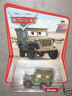 Disney Pixar Cars Movie Original Sarge Desert Background Card 16 Cars Pictured on Back Of Card Mattel 1:55 Scale by Mattel. $3.49. Mattel 1:55 Scale. Disney Pixar Cars Movie Original Sarge Desert Background Card. 16 Cars Pictured on Back Of Card. Disney Pixar Cars Movie Original Sarge Desert Background Card 16 Cars Pictured on Back Of Card Mattel 1:55 Scale