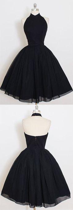 2017 Custom Made Black Chiffon Prom Dress,Halter Homecoming Dress,Short /Mini Party Dress,High Quality Prom Dress,Sweet 16 Cocktail Dress,Homecoming Dress #custommadeclosets