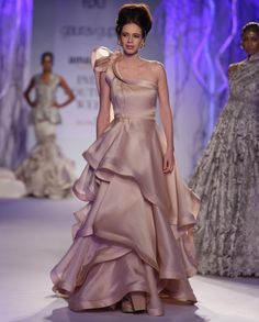 Champagne Autumn Cascading Gown - Gaurav Gupta - India Couture Week '15 - Off The Runway