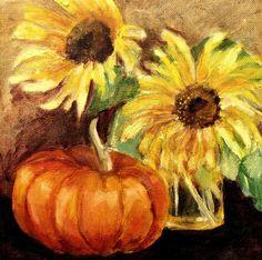 Pumpkin Painting Art   ... With Pumpkin Painting - Sunflowers With Pumpkin Fine Art Print