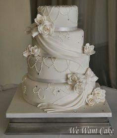 White flower & pearl wedding cake -- still love draping on wedding cakes... so elegant!