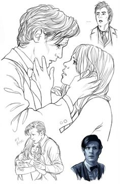 """adelelorienne: """" No Matter -Who- Sketches of Ten, Ten and Rose, Eleven, and Eleven and Rose (I'm in love with the very idea of Eleven and Rose!) :D The two larger sketches are WIPS for a double-panel. Rose And The Doctor, Doctor Who Fan Art, 11th Doctor, Rose Tyler, Geronimo, Bad Wolf, Dr Who, Cute Couples, The Help"""