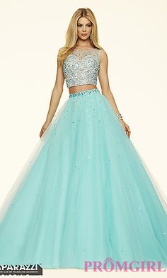 Two Piece Open Back Ball Gown Style Prom Dress by Mori Lee at PromGirl.com