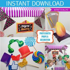 Have a Scrumdidilyumptious fun party with this Willy Wonka inspired photo booth and decorations printable kit.