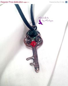 Wire Wrapped Skeleton Key Necklace With Copper Wire Wrapped Pendant,Bohemian Hand Wrapped,SteampunkValentine's Day Gift