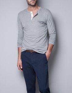 LINEN BUTTON NECK T-SHIRT from Zara | minimalist/futurist ...