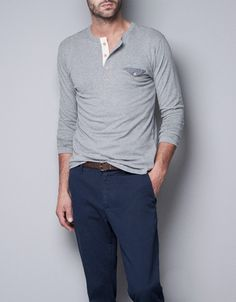 LONG-SLEEVE BUTTON-NECK