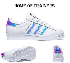 watch 31a69 4f17c Adidas Super Star (GS) White Metal Silver Women Girls Boys  Trainer All  Sizes