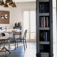 Those lights are kinda rad :: Robert Gervais via Marie Claire Maison {studio} Lovely Apartments, Small Apartments, Kitchen Nook, Apartment Kitchen, Apartment Furniture Layout, Bibliotheque Design, Living Place, Bedroom Floor Plans, Parisian Apartment