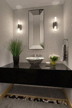 Modern Powder Room with Vessel sink bowl, Textured wall finish, Rectangle concave mirror, Porcelain tile