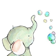 childrens wall art original illustration -- Elephant Bubbles--- 5x7 art print by trafalgarssquare. $10.00, via Etsy.