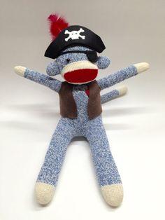 Pirate Sock Monkey Doll Kids Pirate Room Decor by RedHeartMonkeys
