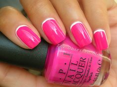 OPI Ford Mustang Collection: Girls Love Ponies reverse French / Ruffian manicure, easy nail art