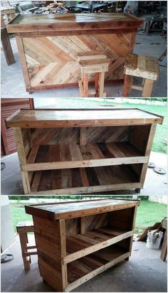 We have made this old pallet bar which contains two racks. We have designed the surface so smooth with the help of polish. You can also make small stools with this pallet wood project.