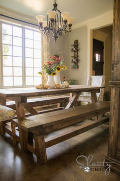 step by step instructions for DIY Dining Table and Benches. Matching sideboard and hutch too