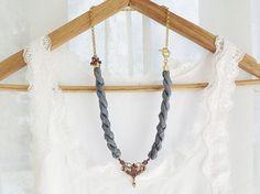 Gray Silk Necklace  Etsy.com