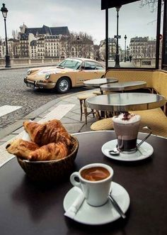 Coffee and croissants.and a 911.