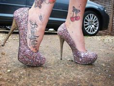#cherry #butterfly #tattoo #ankle #heels #girly