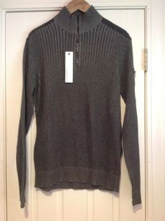 NWT-Calvin-Klein-Jeans-Charcoal-Gray-1-4-Zip-Sweater-Mens-Size-Large