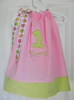 First Birthday Pillowcase Dress in Pink and Green by DesignsByThem, $29.95