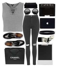 """""""5:37 // black cat"""" by kianahall ❤ liked on Polyvore featuring Topshop, Chanel, Home Source International, Polaroid, L. Erickson, Aesop and NARS Cosmetics"""