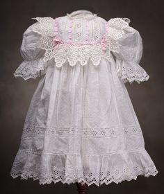 Antique White Original Batiste Dress for Jumeau Bru Steiner French bebe or german doll Antique dolls at Respectfulbear.com