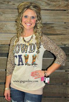 Howdy Y'all Cheetah Sleeve Burnout Baseball Tee