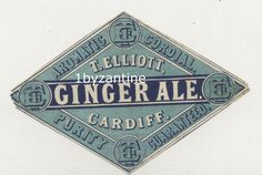 early Mineral water label for (never seen before) for Thomas Ginger Beer Ale, circa 1900 co Circa 1900 Aromatic Cordial Ale . Cardiff Wales, Mineral Water, Ginger Beer, Cordial, Bottle Labels, Vintage Ads, Minerals, Bottles, Antique