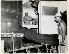 Wounded U. Marine is brought to a mobile operating room directly behind the front lines on Okinawa. Marine Raiders, Us Marines, Press Photo, Okinawa, Marine Corps, Ww2, Battle, History, The Originals