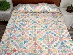 Amish Country-Quilts, King Pastel Faceted Jewel Quilt