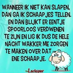 Wanneer ik niet kan slapen ... schaapje Funny Qoutes, Jokes Quotes, Dutch Words, Remember Quotes, Dutch Quotes, Special Words, Sharing Quotes, Good Night Quotes, More Than Words