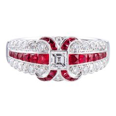 "Art Deco Style ""Lucie Campbell, London"" Diamond and Ruby Ring in Platinum 