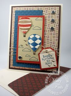Stampin up rubber stamps tag punch masculine birthday card idea