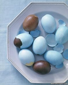 Chocolate eggs (solid egg shaped chocolate frozen, coated with a thin layer of sugar candy of any color and refrozen for a cracking shell effect)